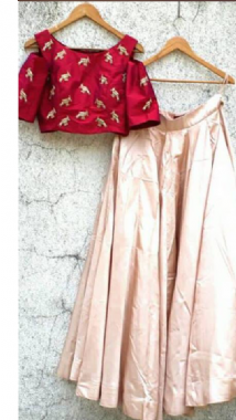 Bronze Lehenga With A Contrast Blouse